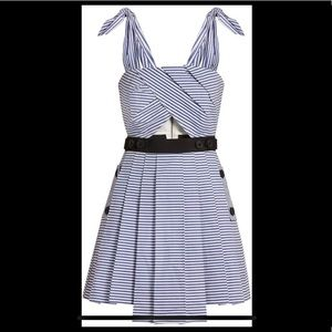 SELF-PORTRAIT Tie-shoulder striped cotton dress